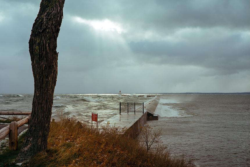 (Film) A beam of light shining down during a storm on Lake Superior. Marquette, MI - Kodak Ektar 100 film