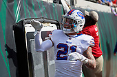 Buffalo Bills Jordan Poyer (21) greets fans during warmups before an NFL Wild-Card football game against the Jacksonville Jaguars, Sunday, January 7, 2018, in Jacksonville, Fla.  (Mike Janes Photography)
