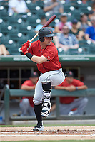 Wyatt Mathisen (19) of the Indianapolis Indians at bat against the Charlotte Knights at BB&T BallPark on August 22, 2018 in Charlotte, North Carolina.  The Indians defeated the Knights 6-4 in 11 innings.  (Brian Westerholt/Four Seam Images)