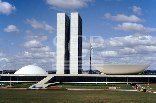 Brasilia, DF, Brazil. Twin towers and the dome and dish of the National Congress by Oscar Niemeyer, architect.