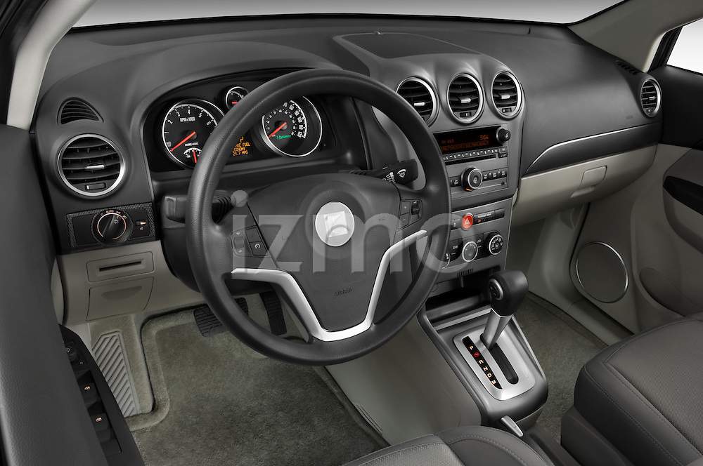 High angle dashboard view of a 2008 Saturn Vue Greenline