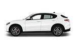 Car driver side profile view of a 2018 Alfa Romeo Stelvio Base 5 Door SUV