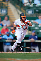Baltimore Orioles right fielder DJ Stewart (24) follows through on a swing during a Grapefruit League Spring Training game against the Tampa Bay Rays on March 1, 2019 at Ed Smith Stadium in Sarasota, Florida.  Rays defeated the Orioles 10-5.  (Mike Janes/Four Seam Images)