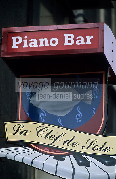 Europe/France/Normandie/Haute-Normandie/76/Seine-Maritime/Dieppe: Enseigne d'un Piano-Bar: La Clef de Sole