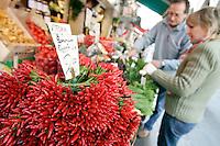 Peperoncini al mercato di Rialto, Venezia.<br /> Chillies on sale at Rialto food markets, in Venice.<br /> UPDATE IMAGES PRESS/Riccardo De Luca