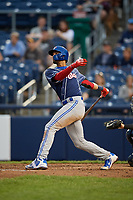 New Hampshire Fisher Cats shortstop Lourdes Gurriel Jr. (16) hits a home run during a game against the Trenton Thunder on August 19, 2018 at ARM & HAMMER Park in Trenton, New Jersey.  New Hampshire defeated Trenton 12-1.  (Mike Janes/Four Seam Images)