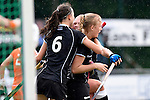 GER - Mannheim, Germany, May 25: During the U16 Girls match between The Netherlands (orange) and Germany (black) during the international witsun tournament on May 25, 2015 at Mannheimer HC in Mannheim, Germany. Final score 1-1 (1-0). (Photo by Dirk Markgraf / www.265-images.com) *** Local caption *** Clara Roth #6 of Germany, Emily Kerner #17 of Germany, Emely Vysoudil #10 of Germany