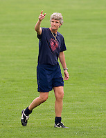 USWNT head coach Pia Sundhage talks to her team during  practice at Beijing Normal University in preparation for the Olympic gold medal game at Workers' Stadium in Beijing, China.