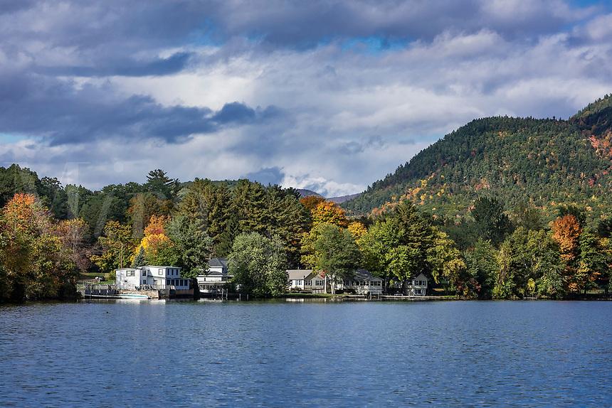 Lakefront houses on Lake Dunmore, Salisbury, Vermont, USA.