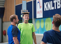Almere, Netherlands, 24 september 2016, Kickoff Jong Oranje, measuring lenght with fitness trainer Miguel Janssen<br /> Photo: Tennisimages.com/Henk Koster