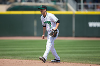 Dayton Dragons second baseman Brantley Bell (3) on defense against the West Michigan Whitecaps at Fifth Third Field on May 29, 2017 in Dayton, Ohio.  The Dragons defeated the Whitecaps 4-2.  (Brian Westerholt/Four Seam Images)