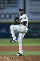 Somerset Patriots relief pitcher Elvis Peguero (23) in action against the Altoona Curve at TD Bank Ballpark on July 24, 2021, in Somerset NJ. (Brian Westerholt/Four Seam Images)