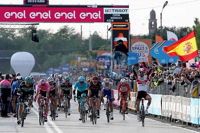 Diego Ulissi (ITA) UAE Team Emirates outsprints Maglia Rosa Joao Almeida (POR) Deceuninck-Quick Step and Patrick Konrad (AUT) Bora-Hansgrohe to win Stage 13 of the 103rd edition of the Giro d'Italia 2020 running 192km from Cervia to Monselice, Italy. 16th October 2020.  <br /> Picture: LaPresse/Gian Mattia D'Alberto | Cyclefile<br /> <br /> All photos usage must carry mandatory copyright credit (© Cyclefile | LaPresse/Gian Mattia D'Alberto)