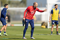 BRADENTON, FL - JANUARY 19: Gregg Berhalter speaks to player during training during a training session at IMG Academy on January 19, 2021 in Bradenton, Florida.