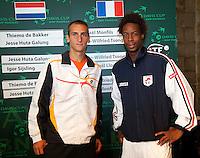 17-9-09, Netherlands,  Maastricht, Tennis, Daviscup Netherlands-France, Draw, Thiemo de Bakker opend vrijdag tegen Gaile Monfils(r)