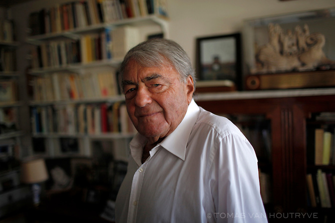 Claude Lanzmann poses for a portrait in his home in Paris, France on May 13, 2011.