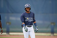 GCL Rays Abiezel Ramirez (2) after hitting a home run during a Gulf Coast League game against the GCL Pirates on August 7, 2019 at Charlotte Sports Park in Port Charlotte, Florida.  GCL Rays defeated the GCL Pirates 5-3 in the second game of a doubleheader.  (Mike Janes/Four Seam Images)