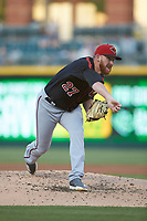 Rochester Red Wings starting pitcher Zack Littell (27) follows through on his delivery against the Charlotte Knights at BB&T BallPark on May 14, 2019 in Charlotte, North Carolina. The Knights defeated the Red Wings 13-7. (Brian Westerholt/Four Seam Images)