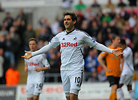 FAO SPORTS PICTURE DESK<br /> Pictured: Danny Graham of Swansea celebrating his goal. Saturday, 28 April 2012<br /> Re: Premier League football, Swansea City FC v Wolverhampton Wanderers at the Liberty Stadium, south Wales.