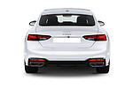 Straight rear view of 2021 Audi A5-Sportback Design 5 Door Hatchback Rear View  stock images