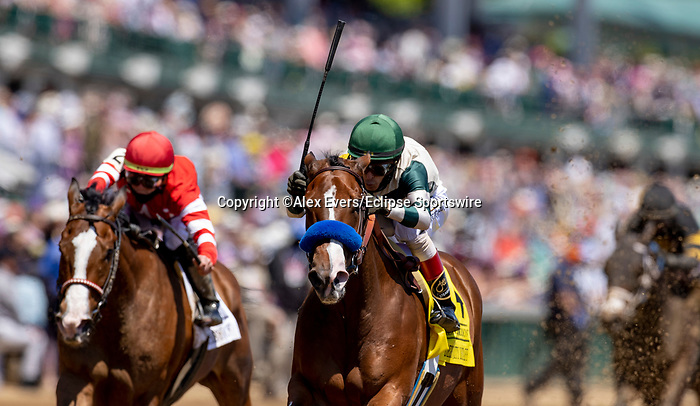 May 1, 2021 : Gamine, #4, ridden by jockey John Velazquez, wins the Derby City Distaff on Kentucky Derby Day at Churchill Downs on May 1, 2021 in Louisville, Kentucky. Alex Evers/Eclipse Sportswire/CSM