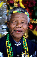 Nelson Mandela appears at an African National Congress (ANC) campaign rally the month before the first democratic elections in South Africa.After more then 27 years in jail as an anti-apartheid activist,   Nelson Mandela lead a 1994 campaign for President as a member of the African National Congress (ANC),  in the first free elections in South Africa in 1994.  Mandela has received more than 250 awards over four decades, including the 1993 Nobel Peace Prize