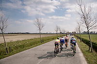 Even with modest back wind, echelons are formed at teh back of the pack<br /> <br /> 45th Oxyclean Classic Brugge-De Panne 2021 (ME/1.UWT)<br /> 1 day race from Bruges to De Panne (204km)<br /> <br /> ©kramon