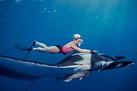 snorkeler and giant oceanic manta ray, Mobula birostris, formerly Manta birostris, at The Boiler, San Benedicto, Revillagigedos ( Socorro ) Islands, Mexico ( E. Pacific )