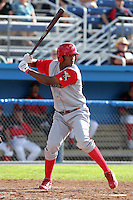 Williamsport Crosscutters outfielder Domingo Santana (24) during a game vs the Batavia Muckdogs at Dwyer Stadium in Batavia, New York July 25, 2010.   Batavia defeated Williamsport 8-1.  Photo By Mike Janes/Four Seam Images