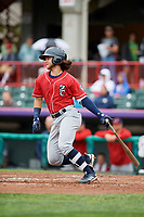 New Hampshire Fisher Cats shortstop Bo Bichette (5) grounds out during a game against the Erie SeaWolves on June 20, 2018 at UPMC Park in Erie, Pennsylvania.  New Hampshire defeated Erie 10-9.  (Mike Janes/Four Seam Images)