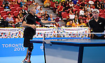 Toronto, ON - Aug 13 2015 - Ian Kent and Masoud Mojtahed compete in Men's Team Class 6-8 Final in the Atos Markham Parapan Am Centre during the Toronto 2015 Parapan American Games  (Photo: Matthew Murnaghan/Canadian Paralympic Committee)