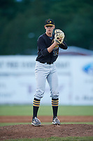 West Virginia Black Bears relief pitcher Blake Weiman (34) gets ready to deliver a pitch during a game against the Batavia Muckdogs on June 26, 2017 at Dwyer Stadium in Batavia, New York.  Batavia defeated West Virginia 1-0 in ten innings.  (Mike Janes/Four Seam Images)