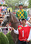 21 August 2010: PADDY O'PRADO and Jockey Kent Desormeaux look around in the paddock before the 34th running of the G1 Secretariat Stakes at Arlington Park in Arlington Heights, Illinois.