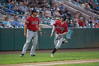 Billings Mustangs designated hitter Cash Case (9) rounds third base during a Pioneer League game against the Ogden Raptors at Lindquist Field on August 17, 2018 in Ogden, Utah. The Billings Mustangs defeated the Ogden Raptors by a score of 6-3. (Zachary Lucy/Four Seam Images)