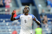 Kansas City, KS. - May 28, 2016: Gyasi Zardes celebrates scoring the opening goal. The U.S. Men's national team defeated Bolivia 4-0 in an international friendly tuneup match prior to the opening of the 2016 Copa America Centenario at Children's Mercy Park.