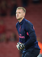 Goalkeeper Bernd Leno of Arsenal pre match during the UEFA Europa League match group between Arsenal and Vorskla Poltava at the Emirates Stadium, London, England on 20 September 2018. Photo by Andrew Aleksiejczuk / PRiME Media Images.
