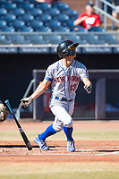 Scottsdale Scorpions second baseman Andres Gimenez (13), of the New York Mets organization, releases the bat on his follow through during an Arizona Fall League game against the Peoria Javelinas at Peoria Sports Complex on November 15, 2018 in Mesa, Arizona. Peoria defeated Scottsdale 2-1. (Zachary Lucy/Four Seam Images)