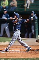 Joseph Mason (18) of the Wingate Bulldogs follows through on his swing against the Catawba Indians at Newman Park on March 19, 2017 in Salisbury, North Carolina. The Indians defeated the Bulldogs 12-6. (Brian Westerholt/Four Seam Images)