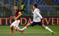 Calcio, Serie A: Roma vs Fiorentina. Roma, stadio Olimpico, 4 marzo 2016.<br /> Roma's Alessandro Florenzi, left, is challenged by Fiorentina's Marcos Alonso during the Italian Serie A football match between Roma and Fiorentina at Rome's Olympic stadium, 4 March 2016.<br /> UPDATE IMAGES PRESS/Riccardo De Luca