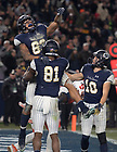 November 17, Chase Claypool celebrates his touchdown with teams during the Shamrock Series football game against Syracuse in Yankee Stadium, New York. (Photo by Barbara Johnston/University of Notre Dame)