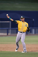 Edwin Diaz (14) of the AZL Athletics makes a throw during a game against the AZL Brewers at Maryvale Baseball Park on June 30, 2015 in Phoenix, Arizona. Brewers defeated Athletics, 4-2. (Larry Goren/Four Seam Images)