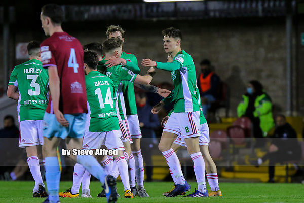 Cian Coleman of Cork City  celebrates after scoring their side's first goal.<br /> <br /> Cork City v Cobh Ramblers, SSE Airtricity League Division 1, 26/3/21, Turner's Cross, Cork.<br /> <br /> Copyright Steve Alfred 2021.