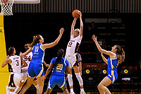 SANTA CRUZ, CA - JANUARY 22: Lexie Hull #12 grabs the rebound during the Stanford Cardinal women's basketball game vs the UCLA Bruinat Kaiser Arena on January 22, 2021 in Santa Cruz, California.
