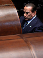 Il leader del Popolo della Liberta' Silvio Berlusconi vota durante la sesta seduta comune di senatori e deputati per l'elezione del nuovo Capo dello Stato, alla Camera dei Deputati, Roma, 20 aprile 2013..People of Freedom party's leader Silvio Berlusconi votes during the sixth common plenary session of senators and deputies to elect the new Head of State, at the Lower Chamber in Rome, 20 April 2013..UPDATE IMAGES PRESS/Isabella Bonotto