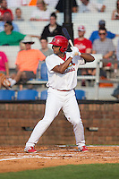 Ricardo Bautista (25) of the Johnson City Cardinals at bat against the Bristol Pirates at Howard Johnson Field at Cardinal Park on July 6, 2015 in Johnson City, Tennessee.  The Pirates defeated the Cardinals 2-0 in game one of a double-header. (Brian Westerholt/Four Seam Images)