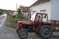 CROATIA, Slavonia, old tractor IMT 539 / KROATIEN, Slawonien, Dorf, alter jugoslawischer Traktor IMT 539