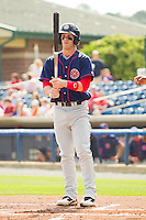 Bryce Harper #34 of the Hagerstown Suns checks his bat during the game against the Rome Braves at State Mutual Stadium on May 2, 2011 in Rome, Georgia.   Photo by Brian Westerholt / Four Seam Images