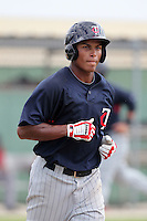 Minnesota Twins outfielder Angel Morales #46 during an Instructional League game against the Boston Red Sox at Red Sox Minor League Training Complex in Fort Myers, Florida;  October 3, 2011.  (Mike Janes/Four Seam Images)