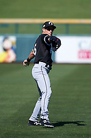 Glendale Desert Dogs center fielder Charlie Tilson (6), of the Chicago White Sox organization, warms up in the outfield before an Arizona Fall League game against the Mesa Solar Sox on October 28, 2017 at Sloan Park in Mesa, Arizona. The Solar Sox defeated the Desert Dogs 9-6. (Zachary Lucy/Four Seam Images)