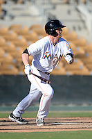 Glendale Desert Dogs third baseman Colin Moran (13), of the Miami Marlins organization, during an Arizona Fall League game against the Mesa Solar Sox on October 8, 2013 at Camelback Ranch Stadium in Glendale, Arizona.  The game ended in an 8-8 tie after 11 innings.  (Mike Janes/Four Seam Images)
